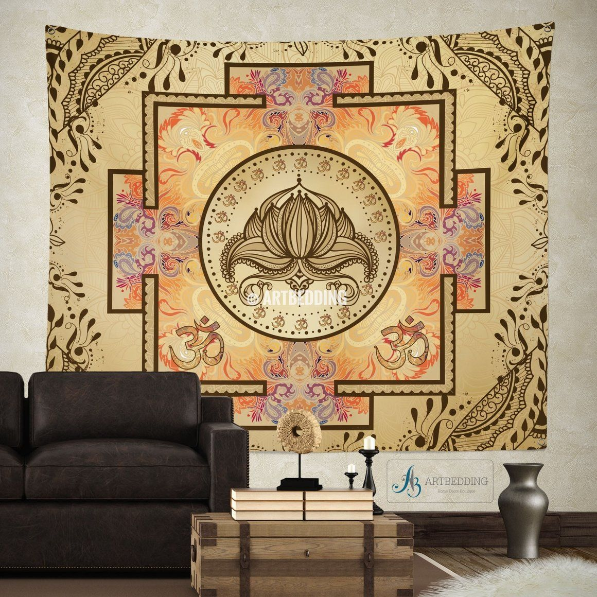 Boho Tapestry, Sacred Yantra wall tapestry, Hippie tapestry wall ...