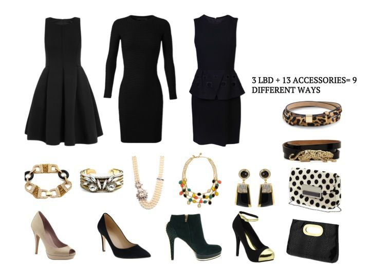 Little Black Dress With Accessories | Little Black Dress With Gold ...