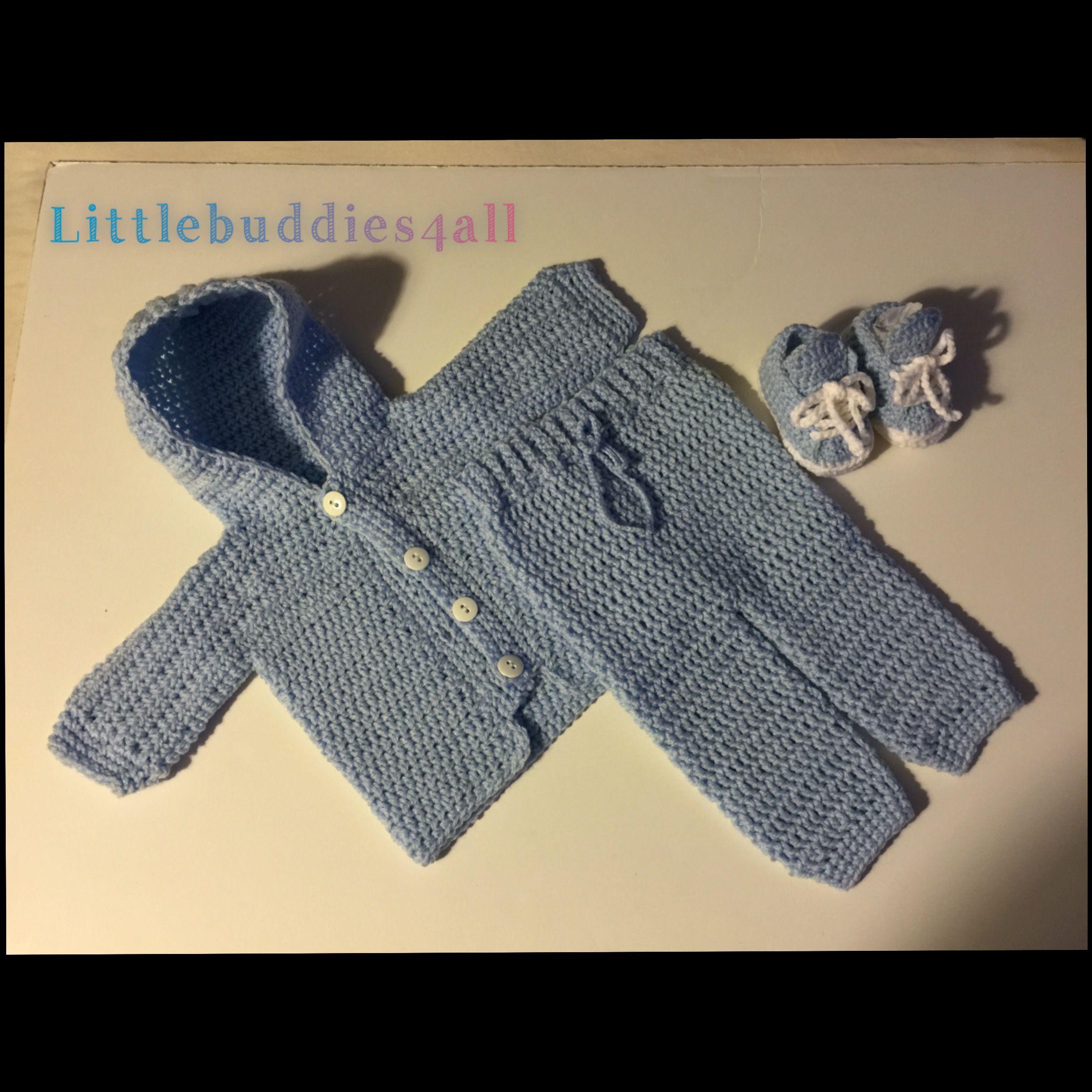 Crochet newborn hooded sweater set Littlebuddies4all