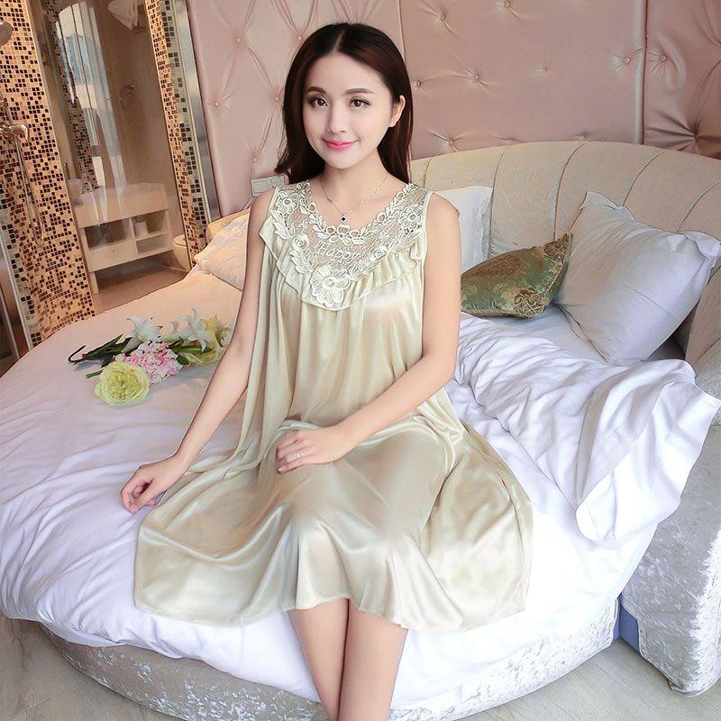 37e060834b1d Embroidery Summer Ladies Sexy Sleepwear Female Ice Silk Satin Night Dress  Women Nightwear Plus Size Satin Nightgown #10(China)