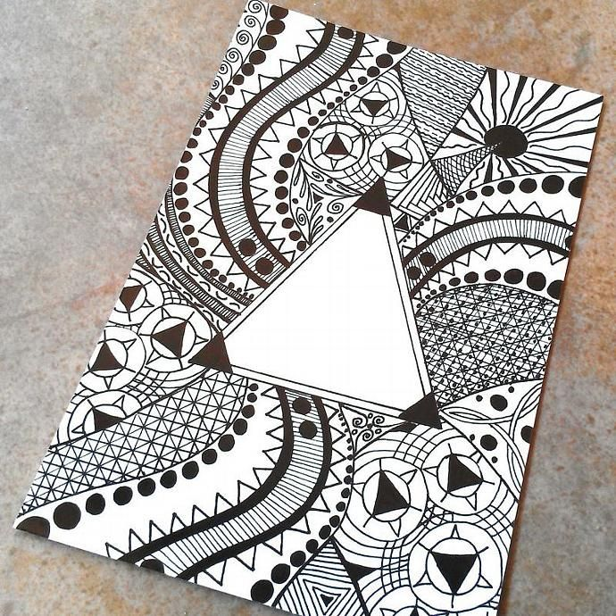 Triangle pattern drawing photo art print 4 x 6 | Drawings ...