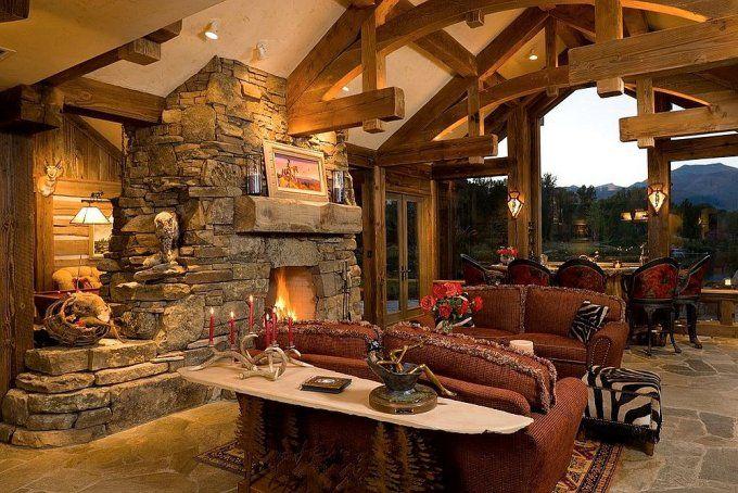 Belle maison en bois rond interieur Pinterest Rustic elegance