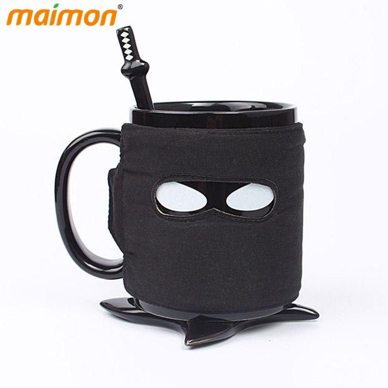 Aliexpress Com Compre 1 Pcs Assassinar Os Desejos De Cafeina Espada Ninja Mascara Preta Caneca Caneca De Ceramica Com Colher E Shuriken Shuriken Mugs Tea Mugs