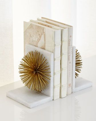 John Richard Collection Gold Burst On White Marble Bookends Elegant Home Decor Bookends John Richard Collection