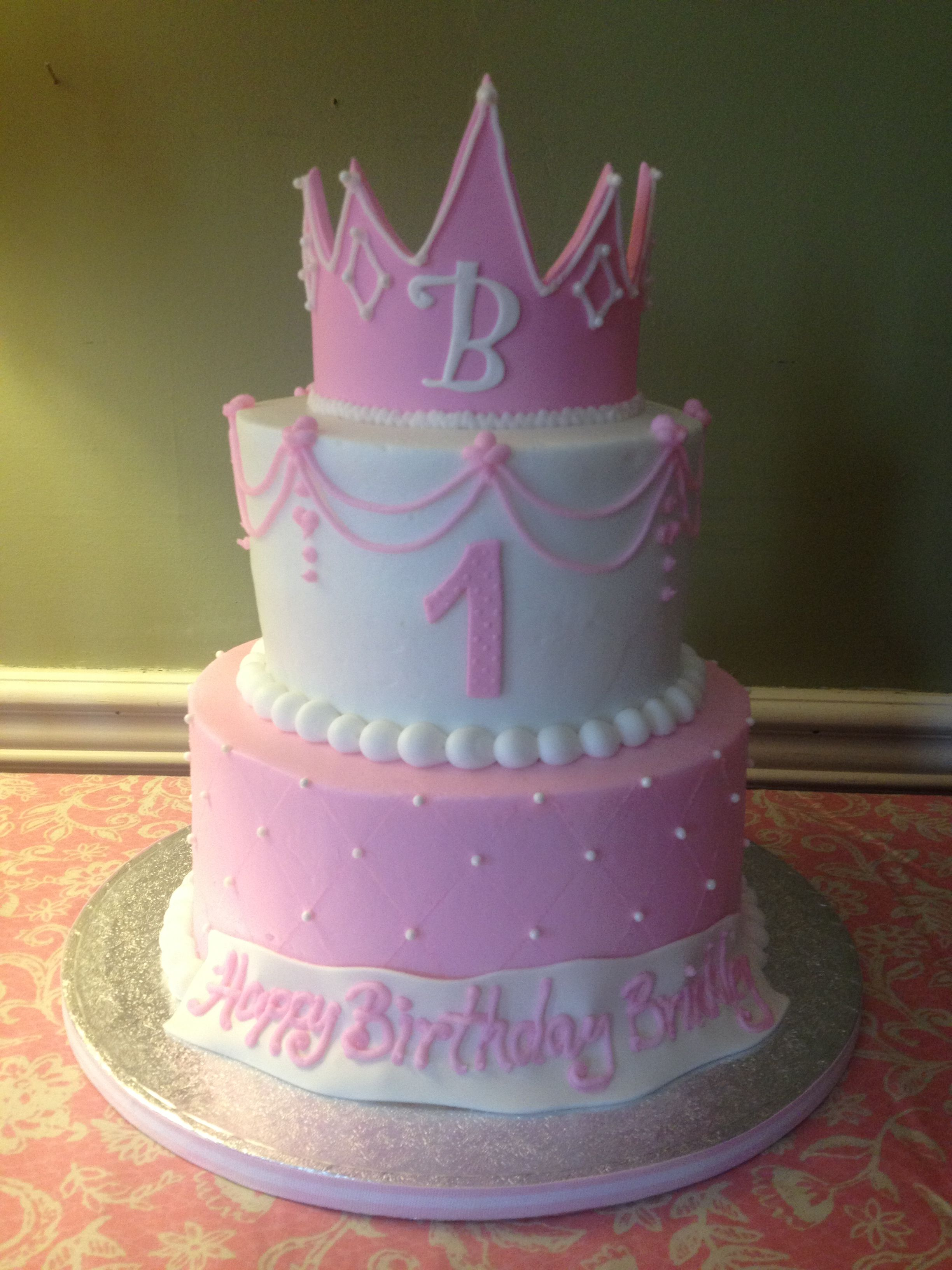 Tremendous Baby Girls First Birthday Cake Princess Cake And Crown Pink Personalised Birthday Cards Veneteletsinfo