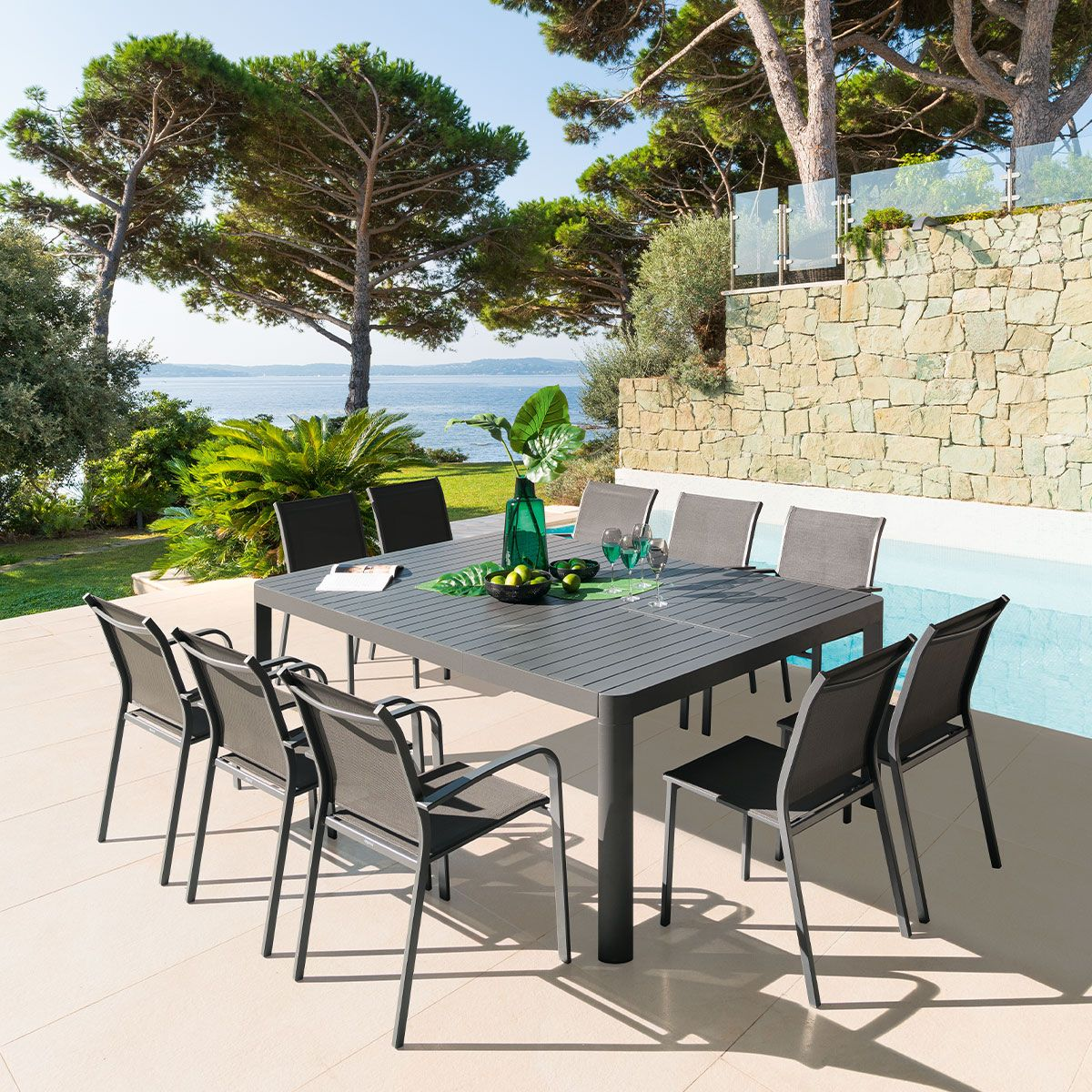table de jardin extensible carree