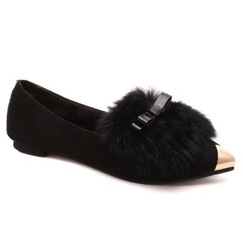 Women'S Bow And Faux Fur Flat Shoes