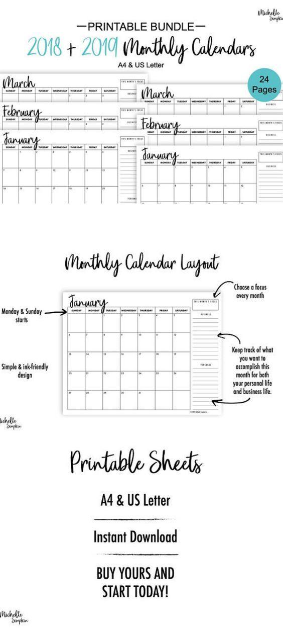 2018 2019 Calendar, Monthly Calendar, Printable Calendar, 2018
