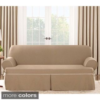 Sure Fit Contrast Cord Cocoa Sofa T Cushion Slipcover