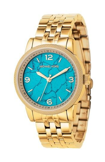 c0390b7efad7 Turquoise face + stunning gold band   me wishing I could afford what Michael  Kors designs.