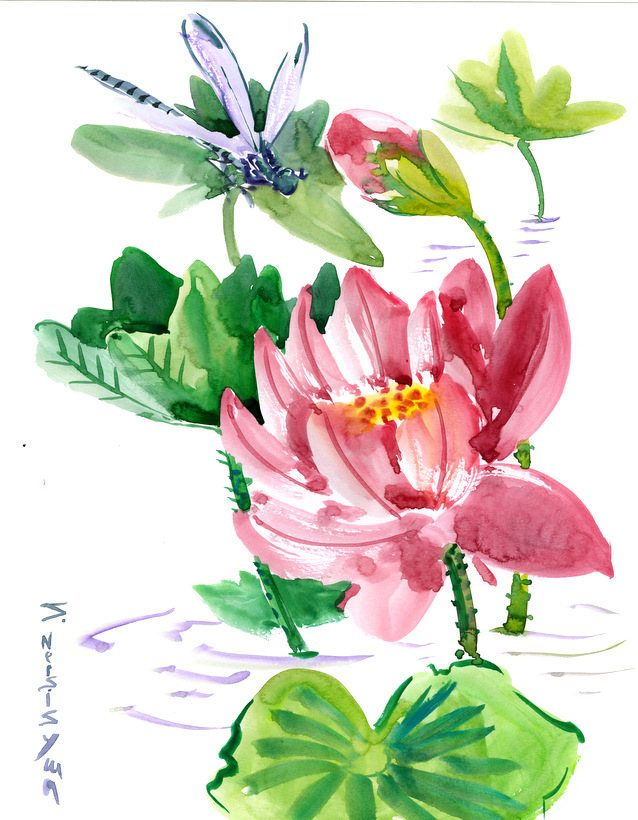 Chinese brush paintingwall art dragonfly and lotus flowers feng chinese brush paintingwall art dragonfly and lotus flowers feng shui original art by suren mightylinksfo Image collections