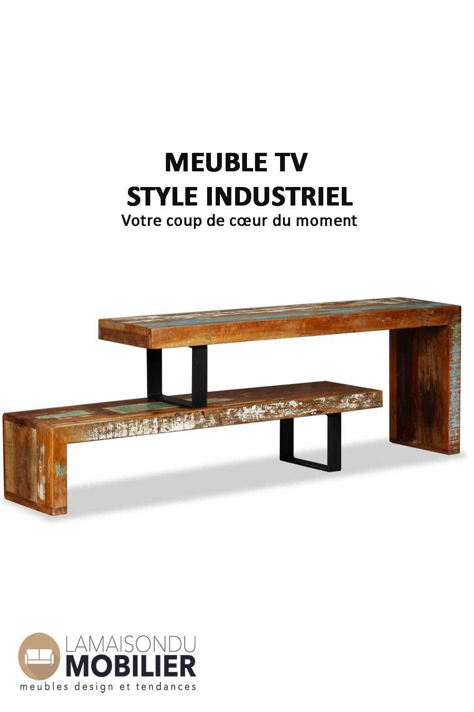 Meuble Tv Style Industriel Ajustable Bois Massif Meuble Tv Style Industriel Meuble Tv Meubles En Bois De Palettes
