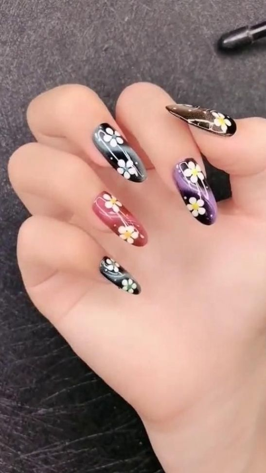 DIY Nails | Cat eyes & Flower Nail Design
