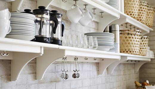 ikea wandschienen und aufbewahrung wie z b grundtal. Black Bedroom Furniture Sets. Home Design Ideas