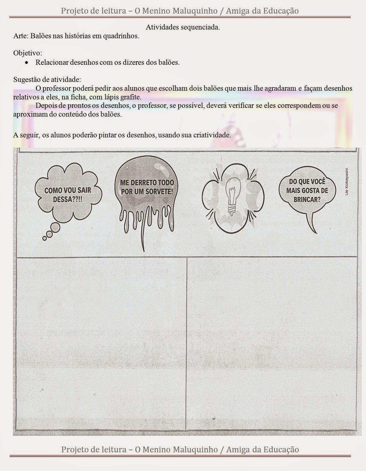 Atividades Para Baixar Projeto De Leitura O Menino Maluquinho