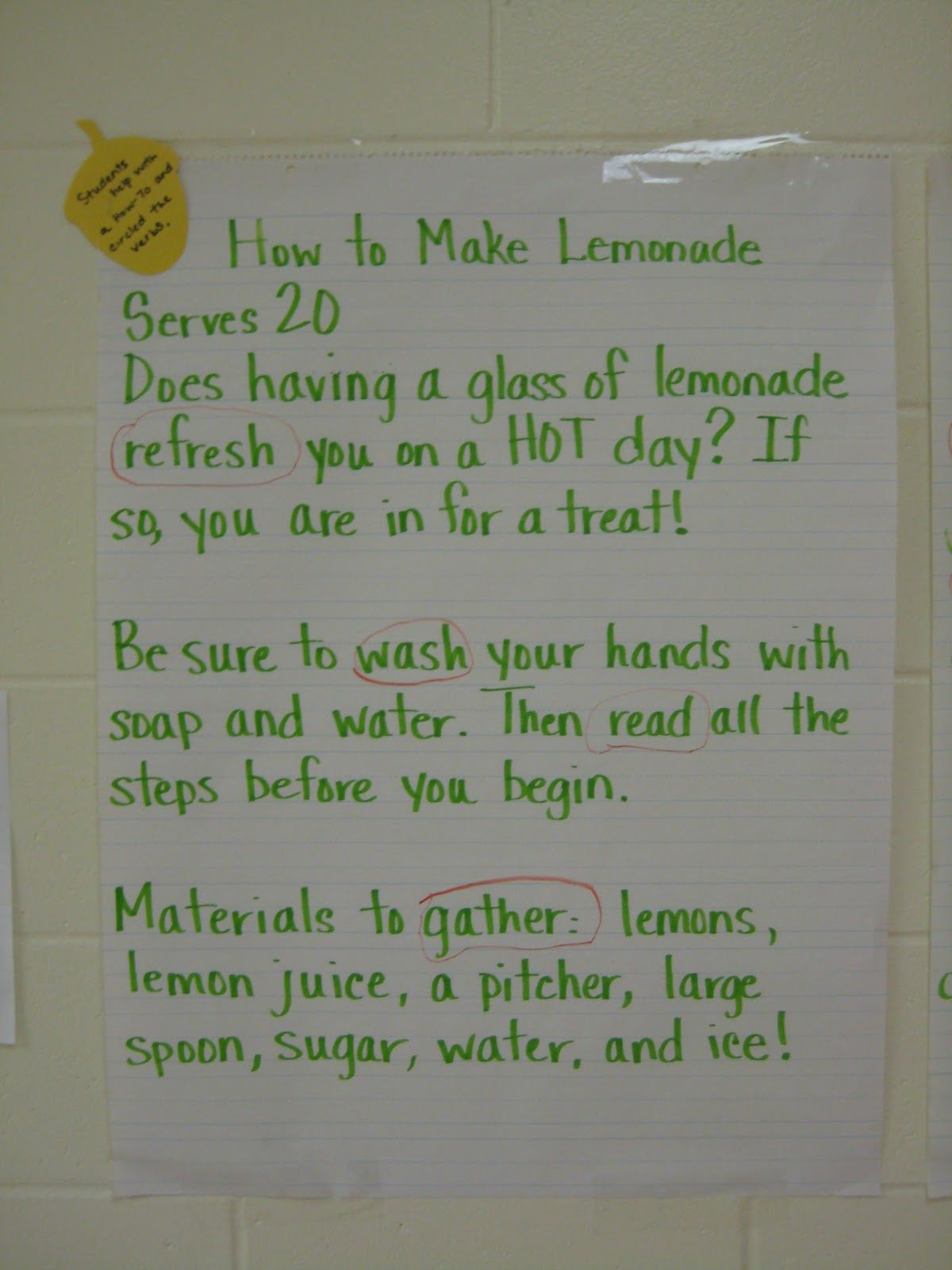 Used a unit on lemonade to teach about verbs and also a science experiment