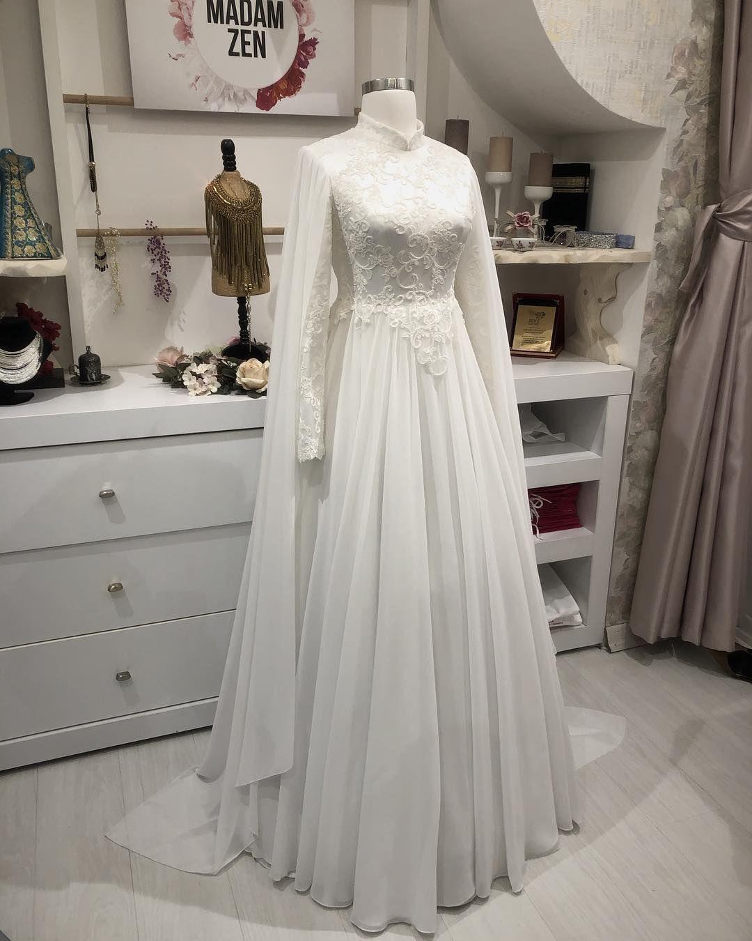 Sahra Beyaz Kabarik Veya Sadepelerinsiz Veya Pelerinli Kullabilirsiniz Tesettur Gelinlik Modelleri 2020 Sifon Gelinlikler Elbise Dugun Gelinlik