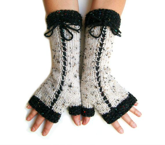 Trendy Hand Knit Fingerless Mittens in lightbeige by SoftKnitArt #etsy #handmade