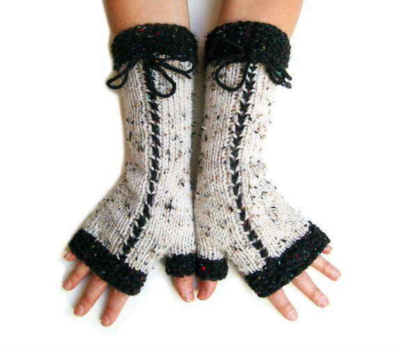 Trendy Hand Knit Fingerless Mittens in lightbeige by SoftKnitArt #etsy #handmade