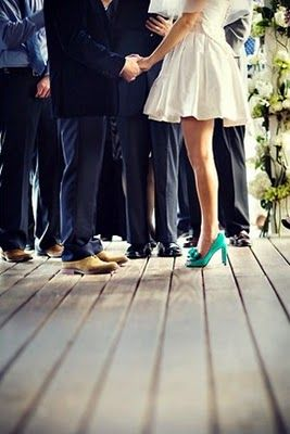 Bright Colour Shoes With Wedding Dress Short Wedding Dress Wedding Green Wedding Shoes