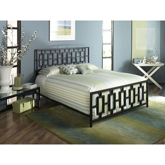 King Metal Bed Frame With Modern Square Tubing Headboard