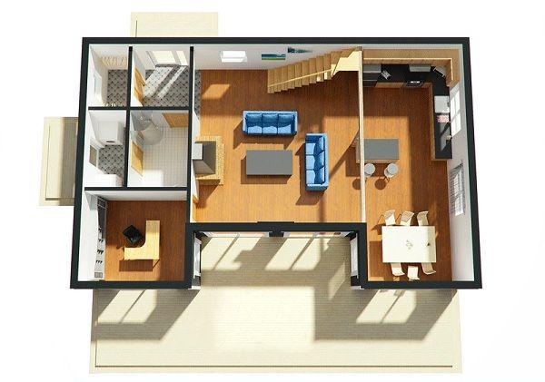 Plano 3d planta baja planos pinterest oficina for Planos de oficinas modernas