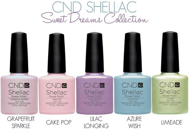 """CND Shellac """"Sweet Dreams"""" Collection: Grapefruit, Cake Pop, Lilac Longing, Azure Wish, Limeade!    A Marzo 2013."""