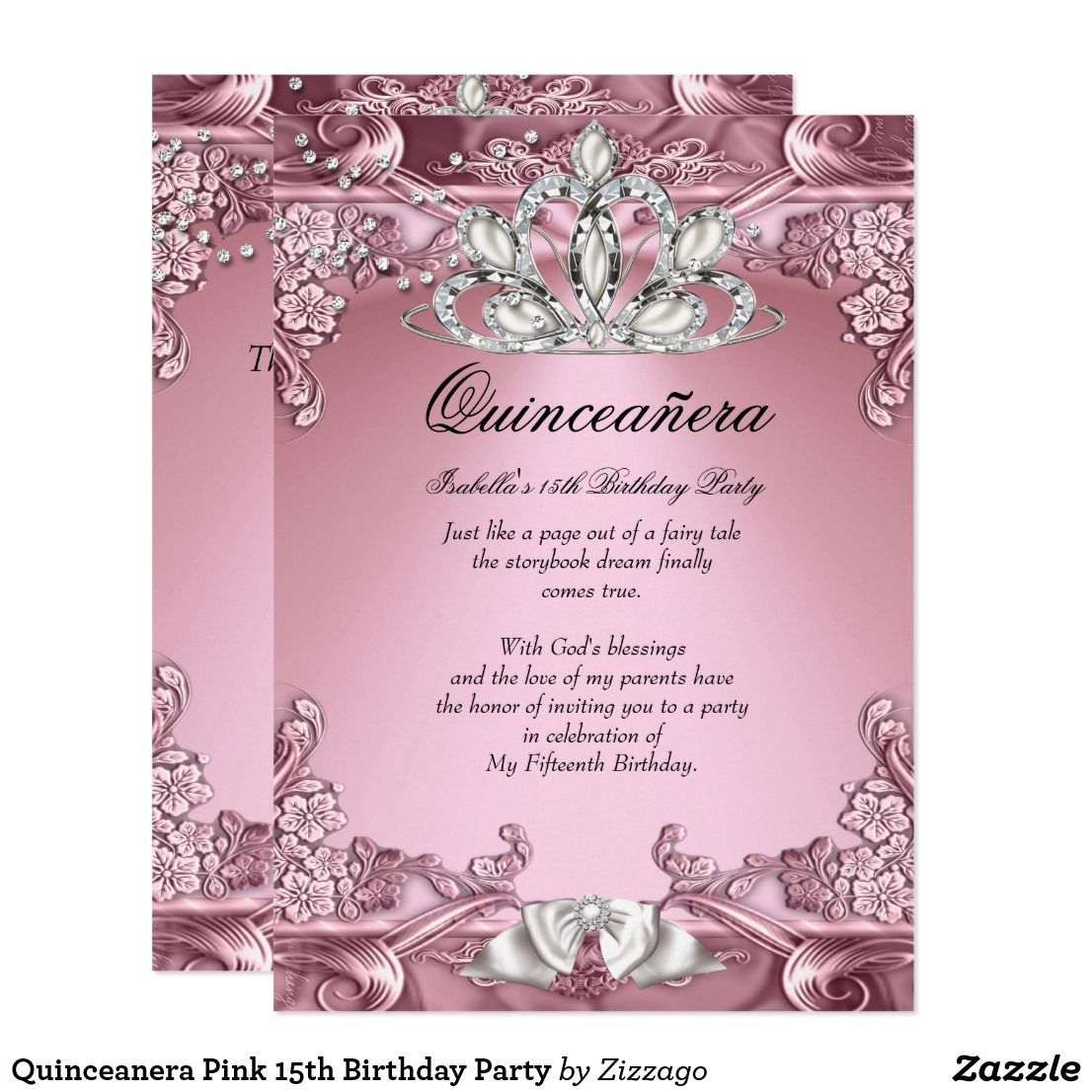Quinceanera Pink 15th Birthday Party Card Invitations Pinterest