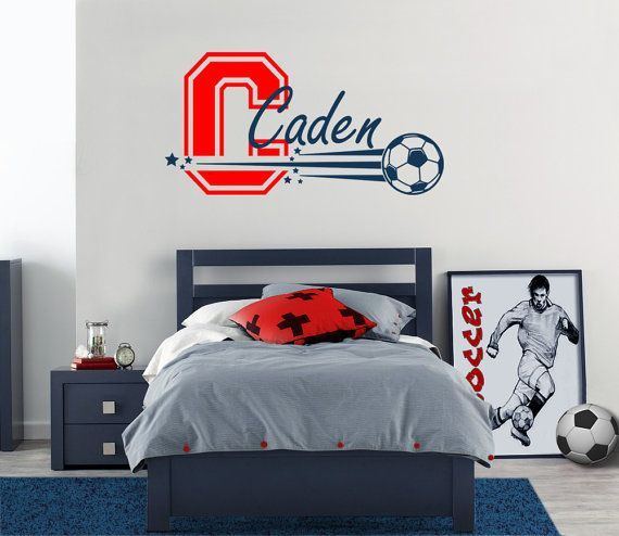 Sports Soccer Personalized Name Wall Decal Wall Sticker For Boys - Monogram wall decals cheap