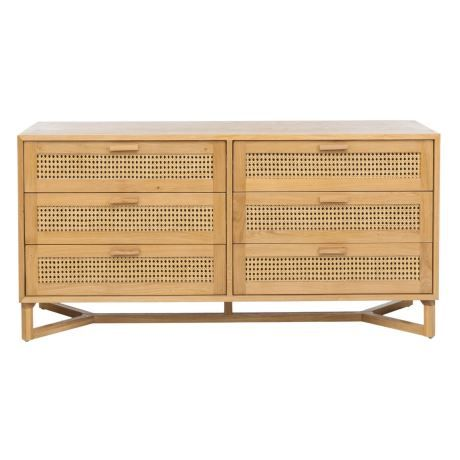 Raffles 6 Drawer Dresser Natural Rattan 1
