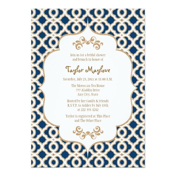 Navy Blue and Gold Moroccan Bridal Shower Invites