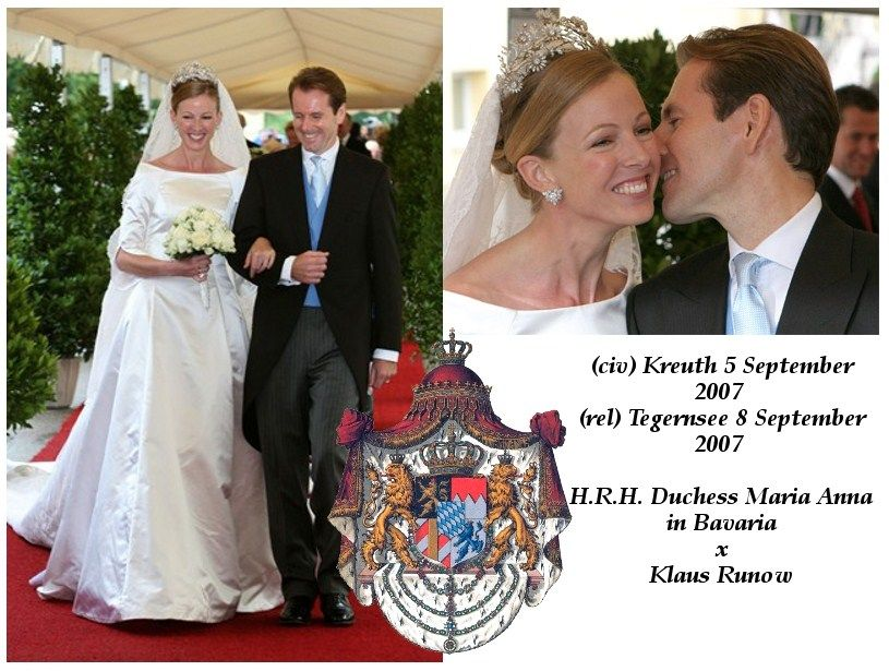 Duchess Maria Anna In Bavaria Wed Her First Husband Klaus Runow On 8 September 2007 She Wore The Diamond Daisy Tiara Of Her Family Which Can Also B Koning