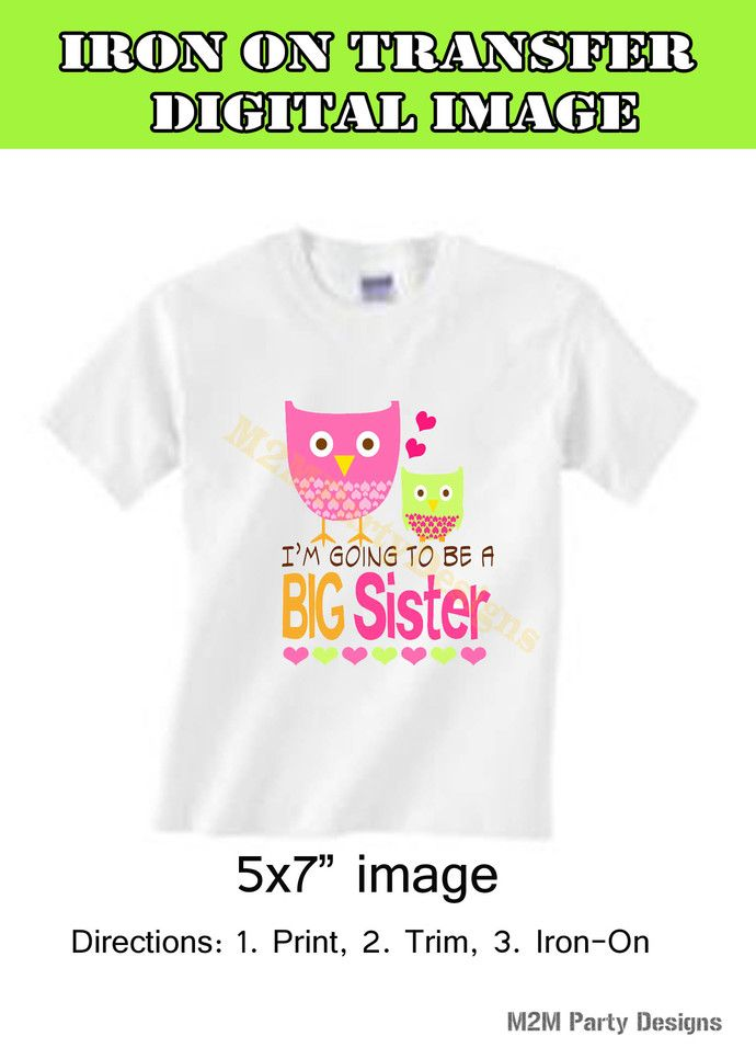 Big Sister Baby Birds, I'm Going to be a Big Sister, DIY Iron on Transfer by Mis2Manos, $4.50 USD