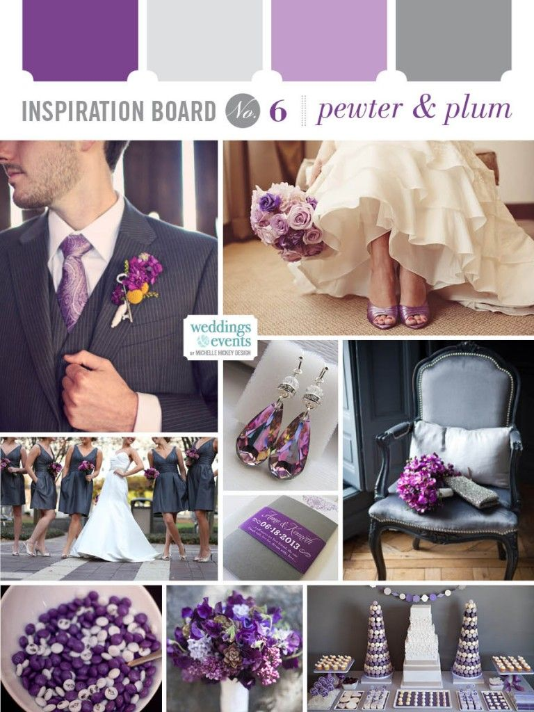 Inspiration Board With Wedding Colors Pewter Plum