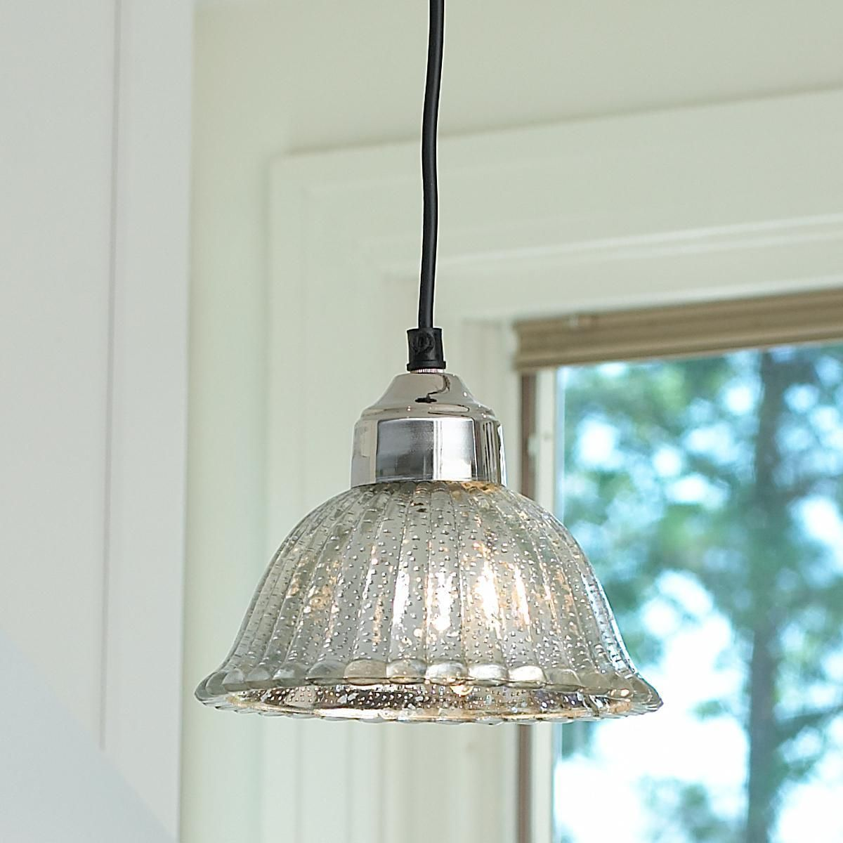 Ribbed Dome Mercury Glass Shade Pendant Light