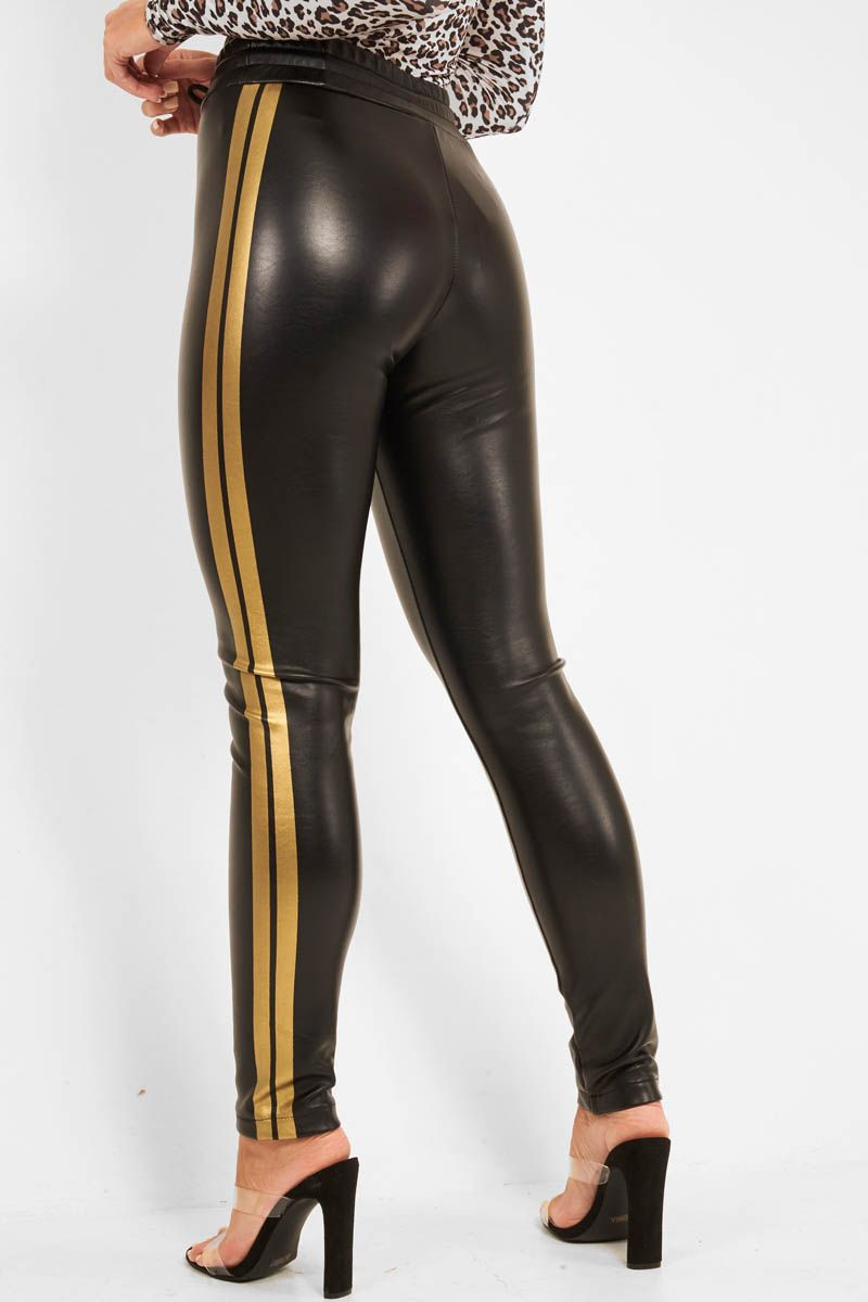40ab306821f36 Black Faux Leather Gold Side Stripe Trousers - Evangelina in 2019 ...