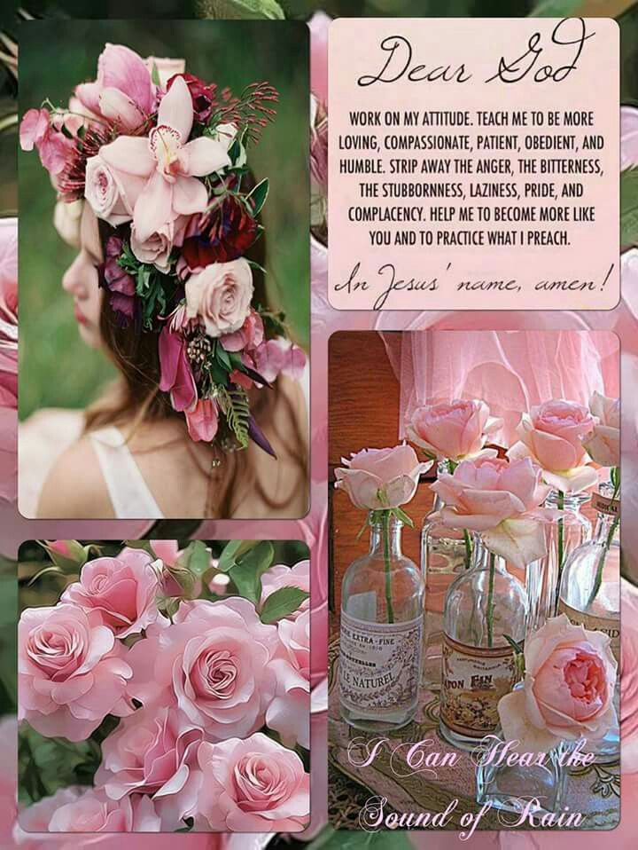 Pink flowers collage mood board quote Flower collage