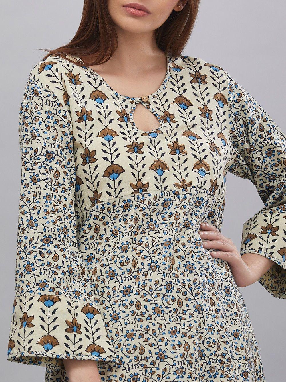 Buy Ivory Green Hand Block Ajrak Printed Cotton Kurta online at Theloom a14c70ffb9