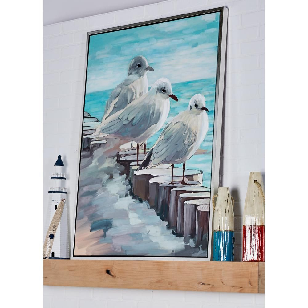 Perched Birds On Log Hand Painted Framed Canvas Wall Art 60072 In