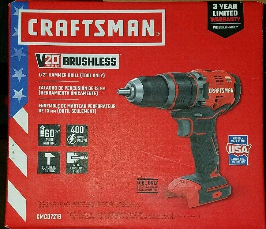 Craftsman V20 Lithium Ion Brushless 1 2 Hammer Drill Tool Only Cmcd721b 885911564632 Ebay Hammer Drill Drill Tools