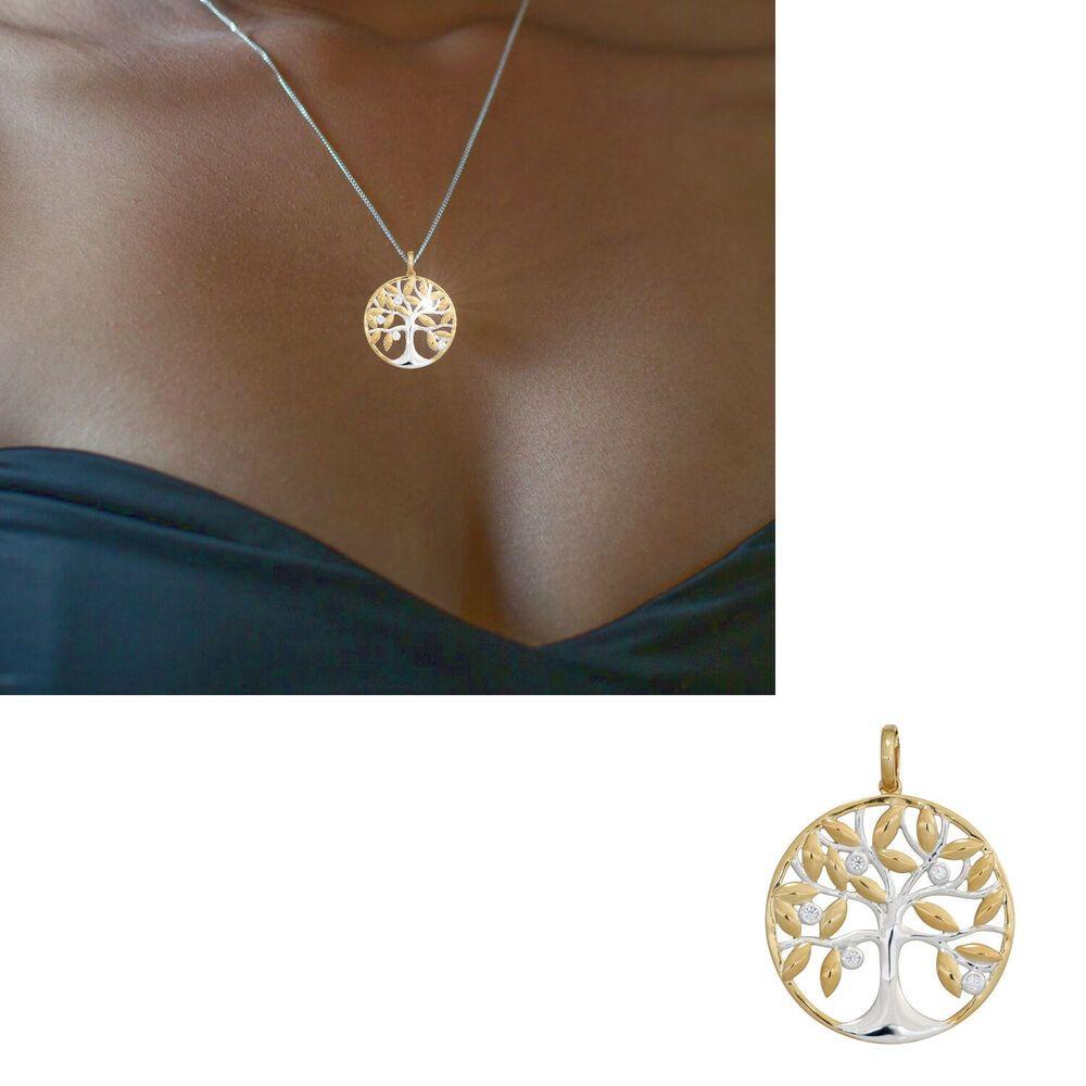 NEU großer Anhänger Lebensbaum mit Diamanten 585 echt Gold
