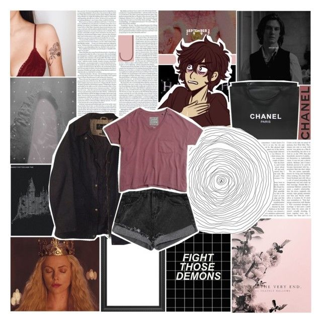 """""""everyone love yourself to death"""" by astroed ❤ liked on Polyvore featuring La Femme, Chanel, Barbour and Madewell"""