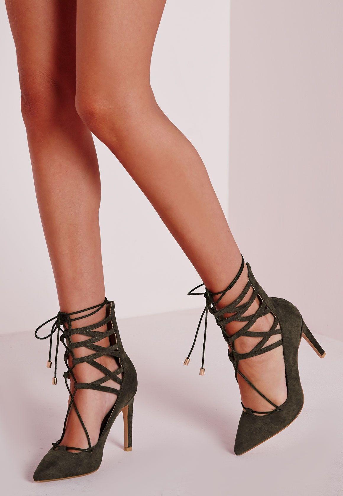 3ace0bcc15610 Missguided - Lace Up Stiletto Heeled Shoes Khaki