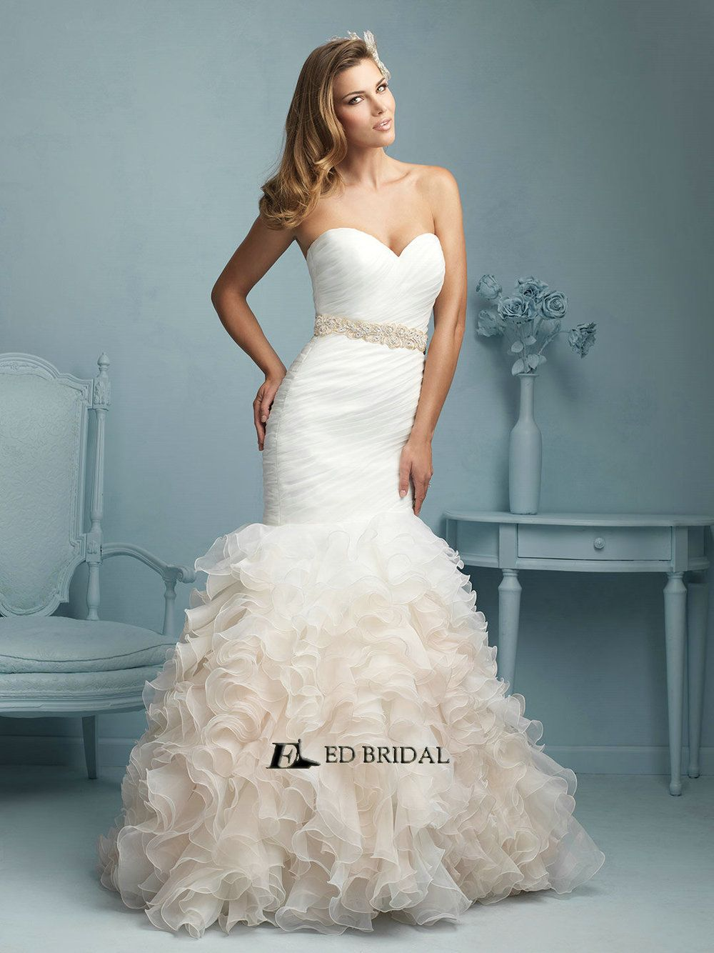 Mermaid ruffle wedding dress  EDYH Vestidos de Novias Ruffled Pleated Mermaid Ivory Wedding