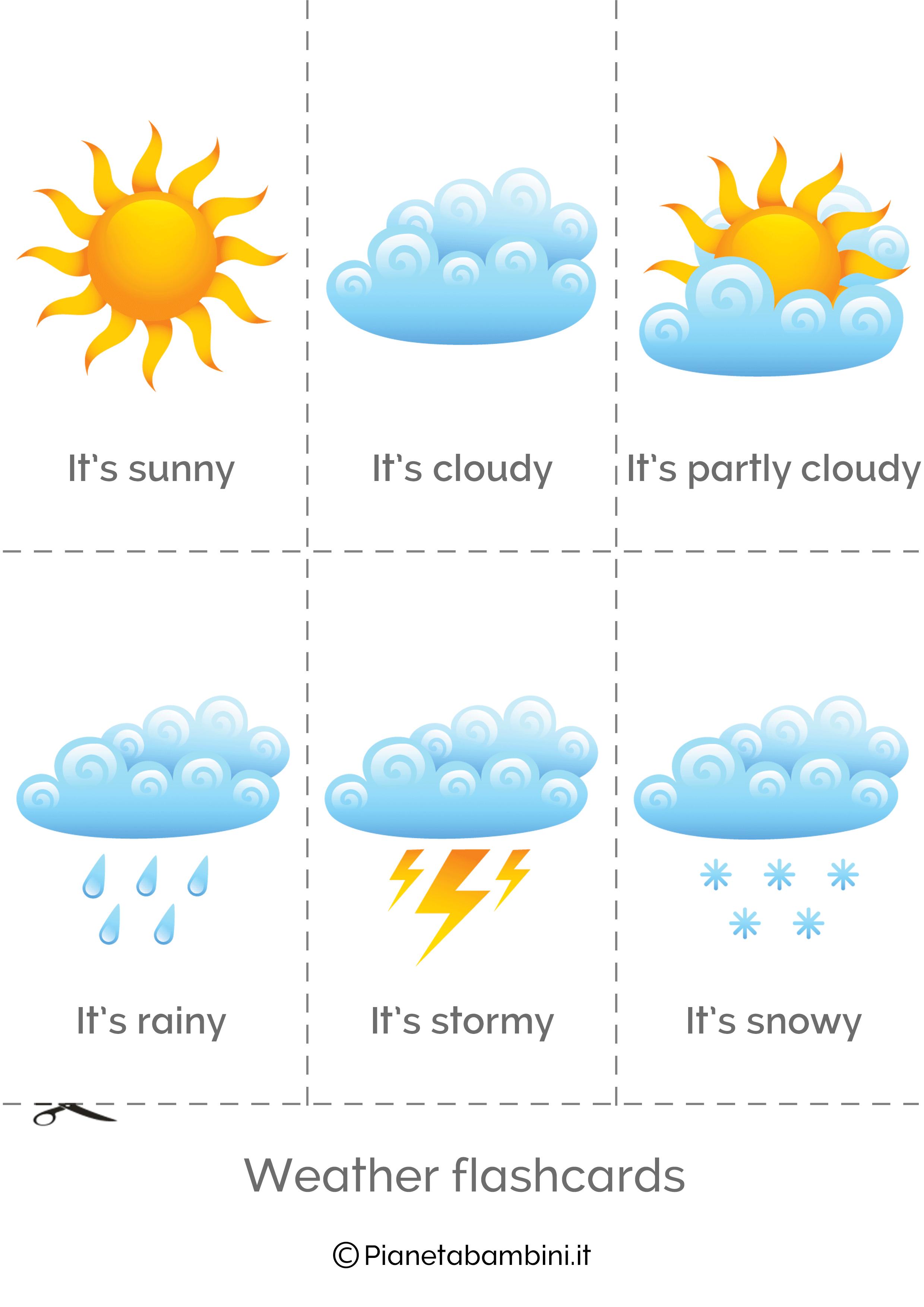 Il Tempo Atmosferico In Inglese Esercizi Per La Scuola Primaria
