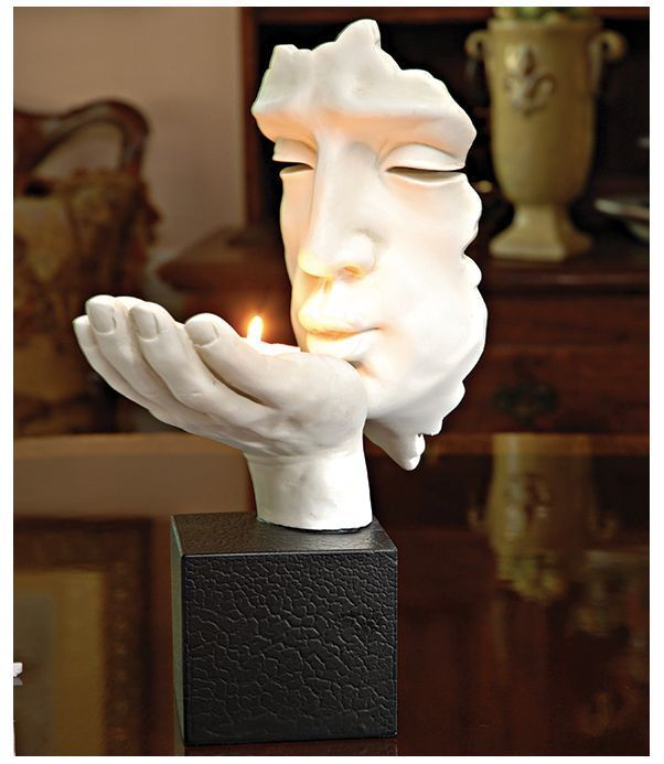Vitruvian Man Statue Sculpture Tea Candle Da Vinci Art History Holder Light New  #VitruvianManDaVinci