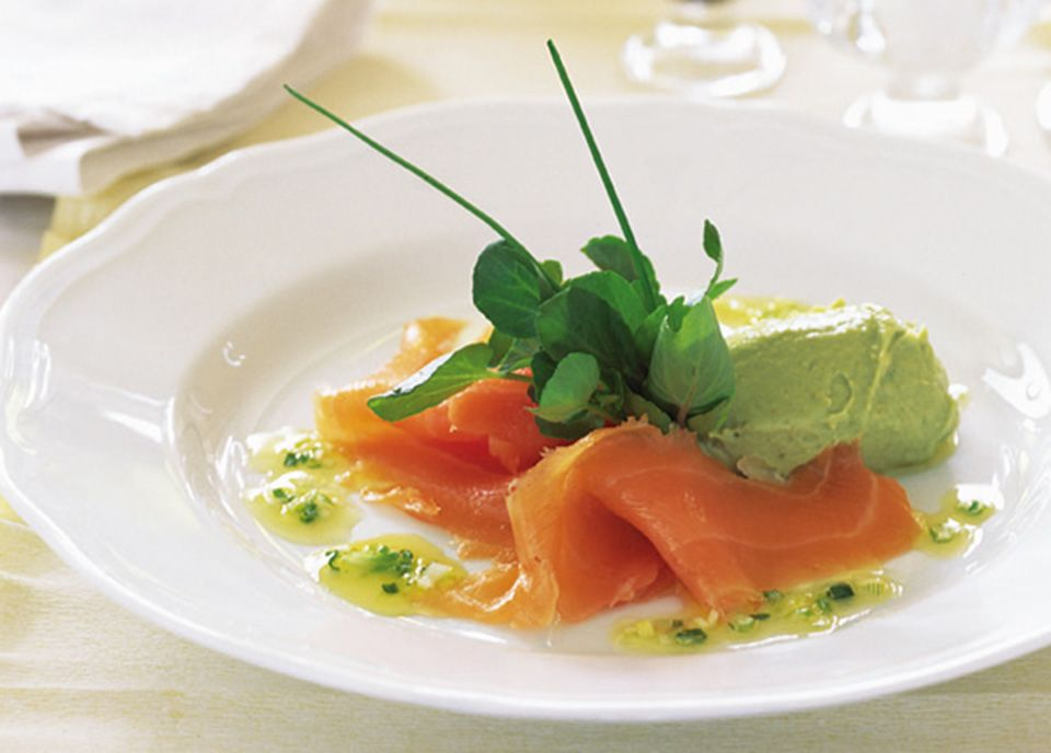smoked salmon with orange dressing and avocado p t