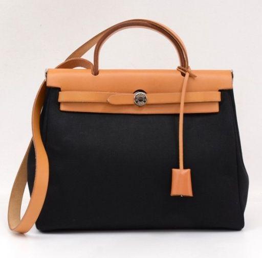 9ee8dfe0e5 Hermes Beige X Black Canvas Herbag   L A - M O D E   Hermes bags ...