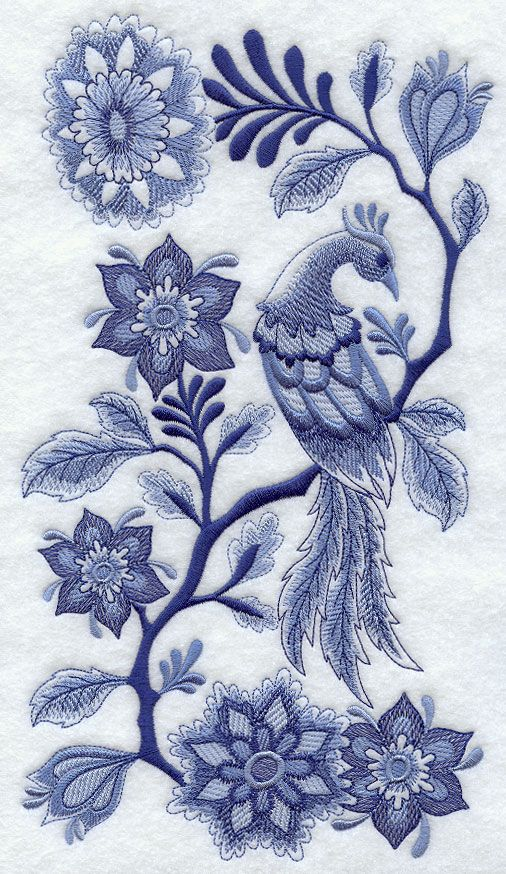 Delft Blue Bird And Flowers Embroidery Patterns Pinterest