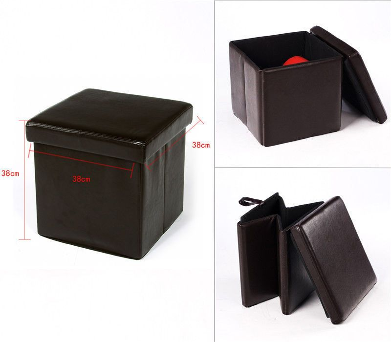 Square Foldaway Ottoman Storage Toy Box Pouffe Seat Foot Stool Chair Flat  Pack… - Square Foldaway Ottoman Storage Toy Box Pouffe Seat Foot Stool